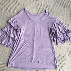 Isabel Maternity Purple Tiered Sleeve Tunic Top